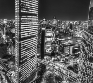 Tokyo cityscape BW