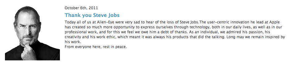 News post on Alien-Eye site on the sad passing of Steve Jobs.